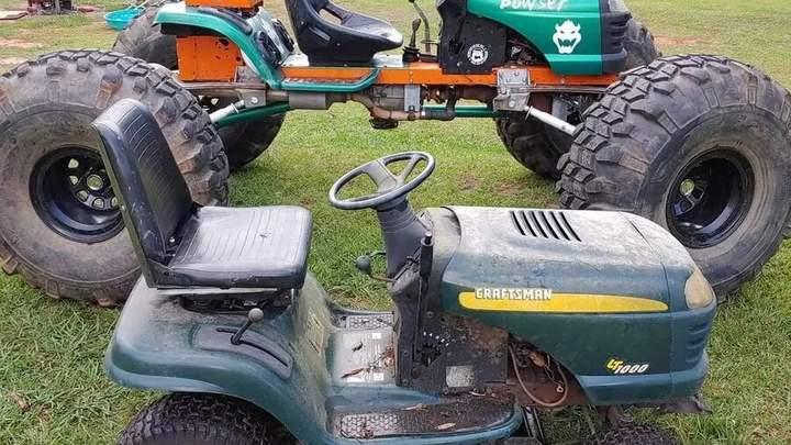 Умелец превратил газонокосилку в монстр-трак на 38-дюймовых колесах (видео) 1