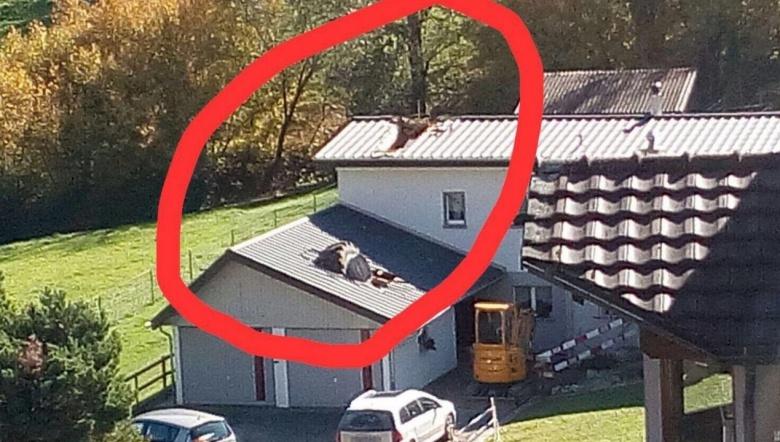 Огромное колесо от трактора проломило крышу жилого дома 2