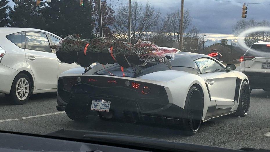 Владелец суперкара приспособил суперкар для перевозки елки 1