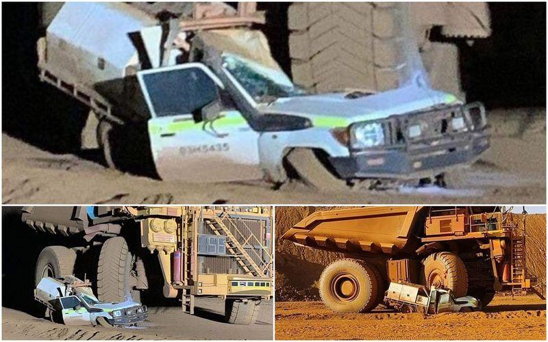 Водитель самосвала случайно раздавил свой собственный автомобиль 1