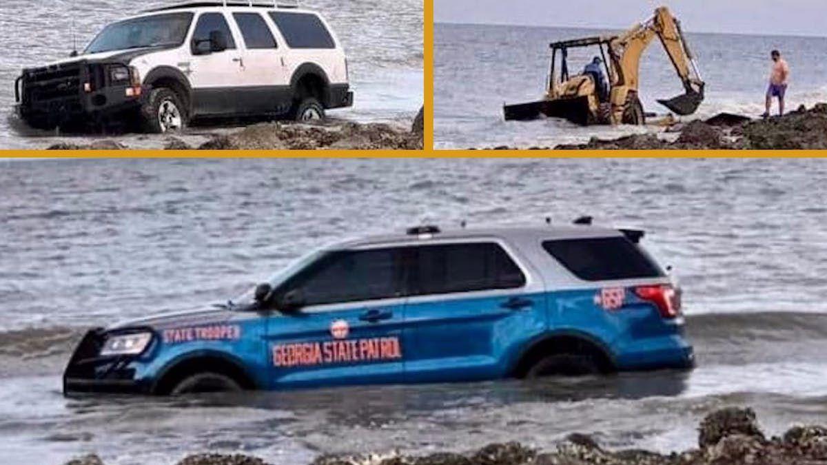 Пытаясь спасти полицейское авто, «умельцы» утопили два внедорожника и трактор 1