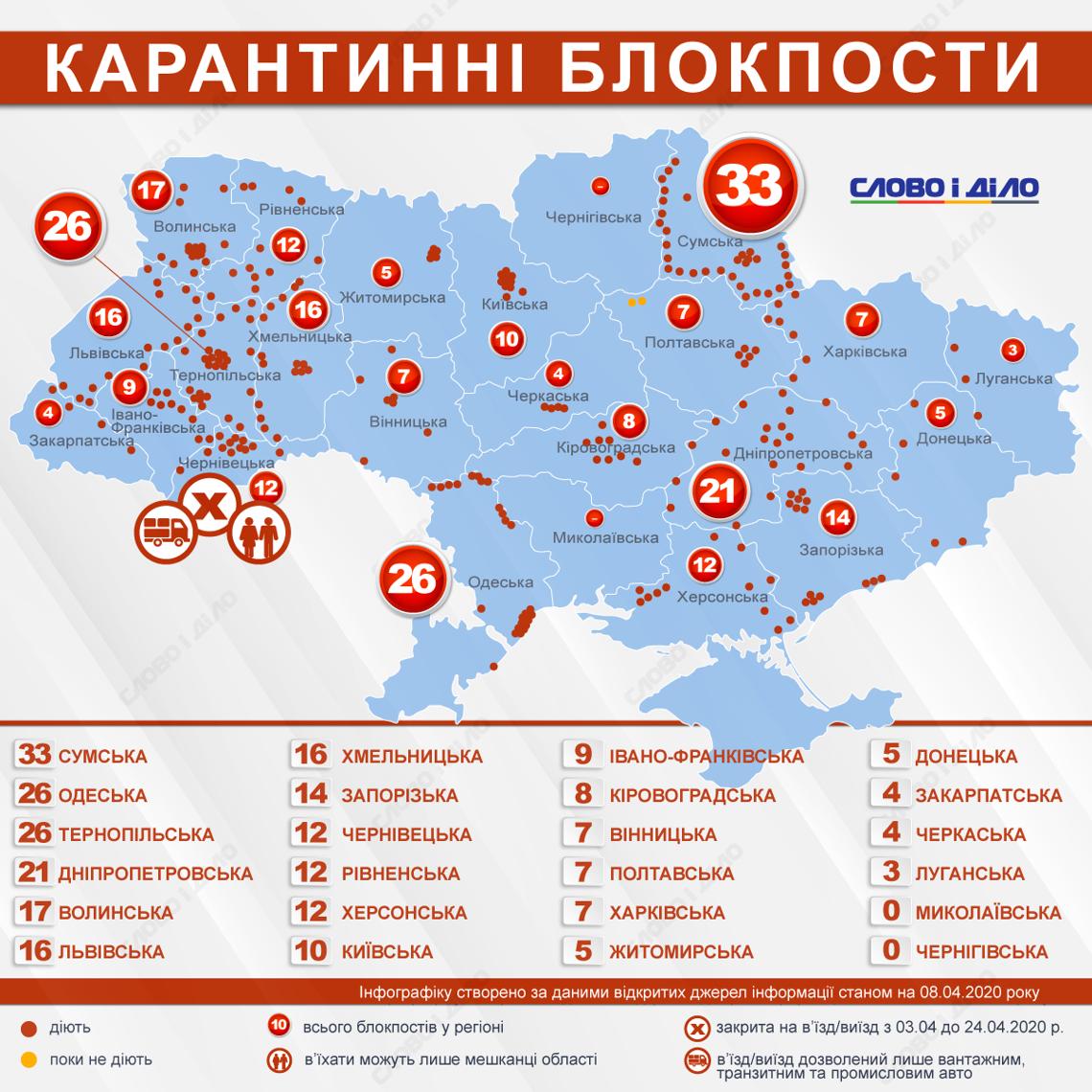 Опубликована действующая карта блокпостов в Украине 1