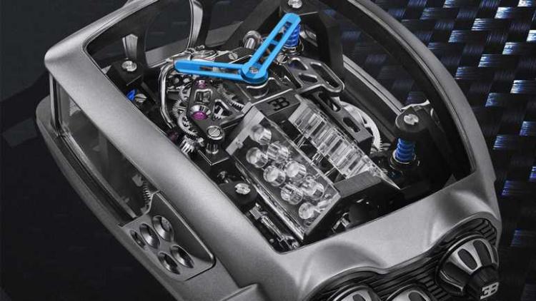 Маленький мотор W16 от Bugatti уместили в часы 1