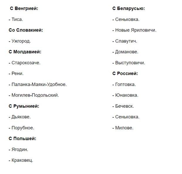 Названы 20 пунктов пропуска, которые будут работать с 7 апреля 1