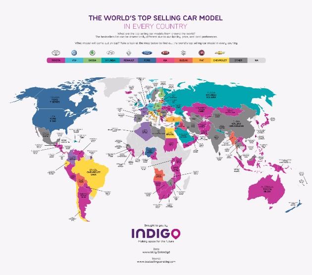 Определены самые популярные автомобили в каждой стране 1
