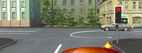 Особенности проезда перекрестков со светофором с дополнительной секцией 3