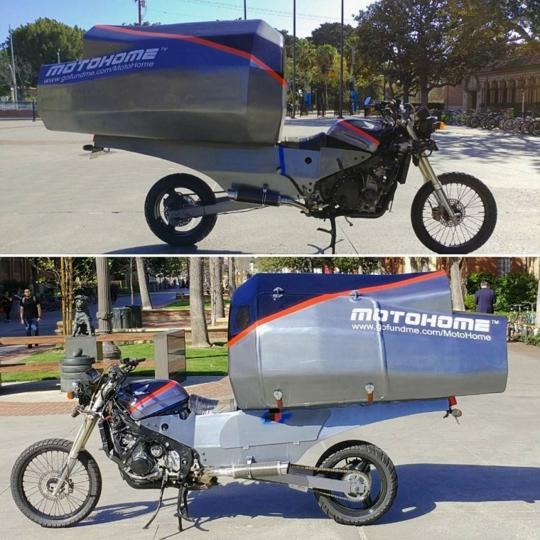 Мотоциклист придумал самый маленький в мире кемпер 1