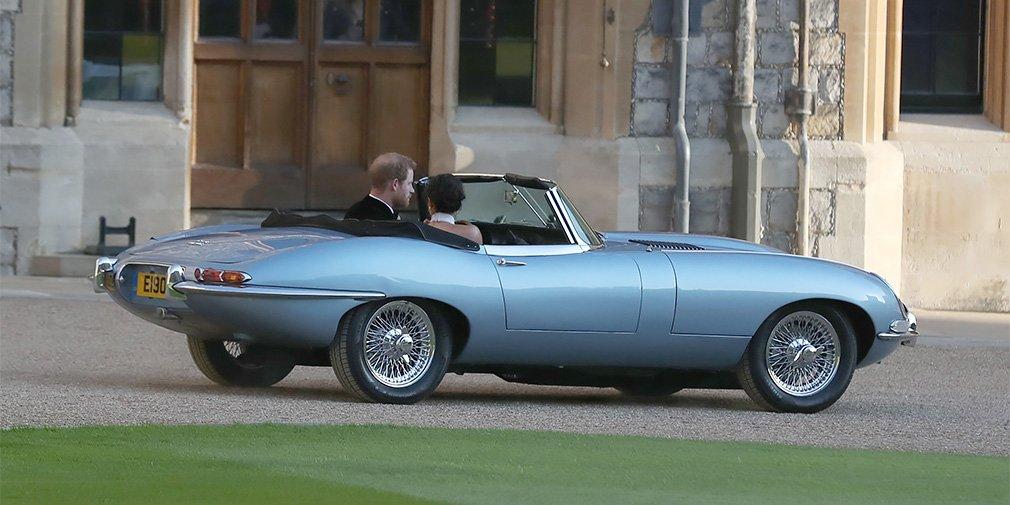 Свадебным автомобилем принца Гарри и Меган Маркл стал электрический родстер Jaguar 1