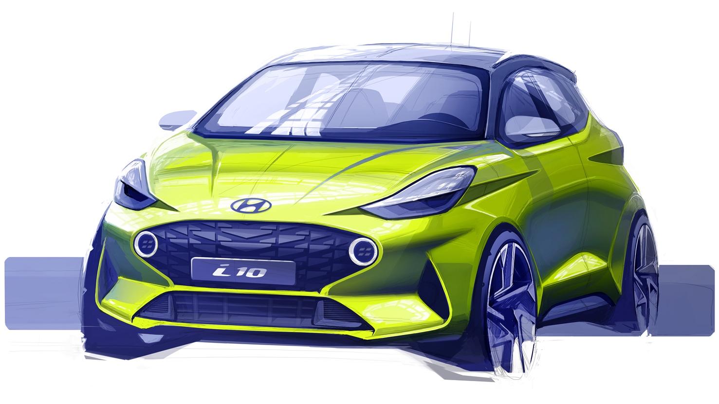 Компания Hyundai опубликовала первый эскиз нового i10 1