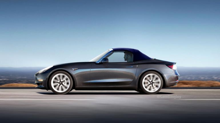 Каким может быть кабриолет Tesla Model 3 2