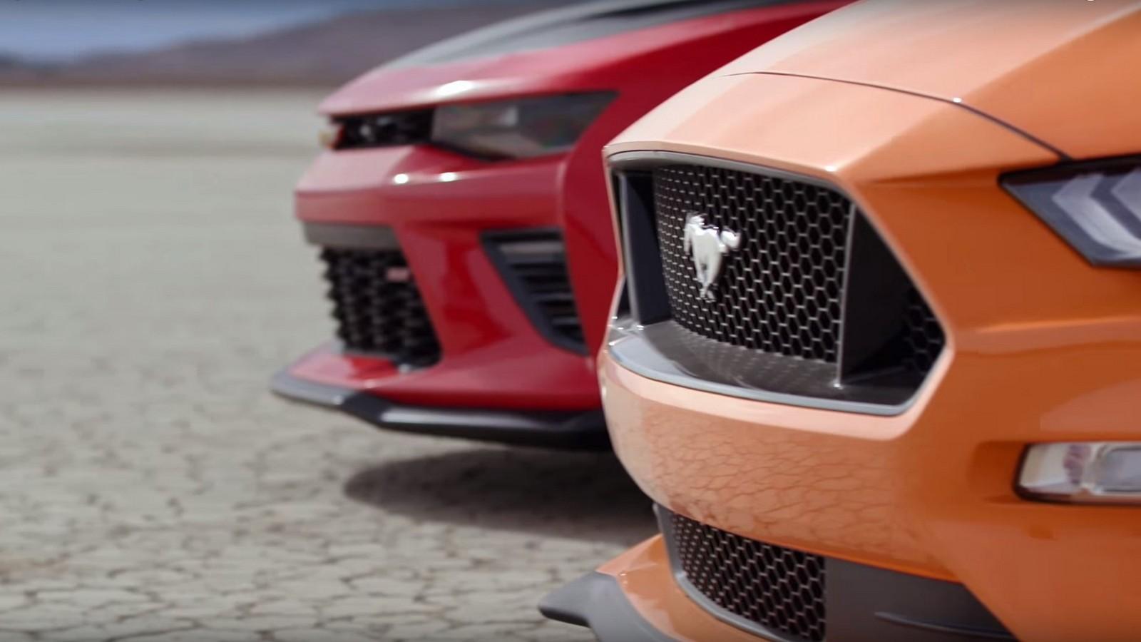 Ford Mustang GT и Chevrolet Camaro SS 1LE сразились в гонке 1