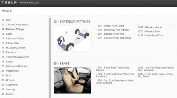Tesla опубликовала детальный каталог запчастей к своим автомобилям 1