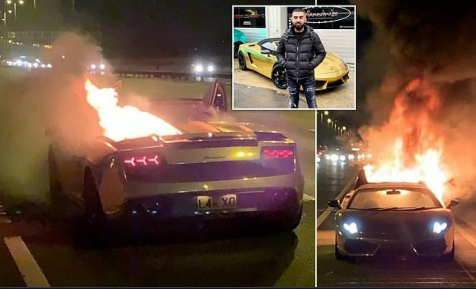 «Золотой» Lamborghini сгорел через час после ТО 1