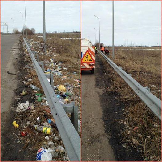 Дорожники убрали с одного километра дороги три грузовика мусора 1