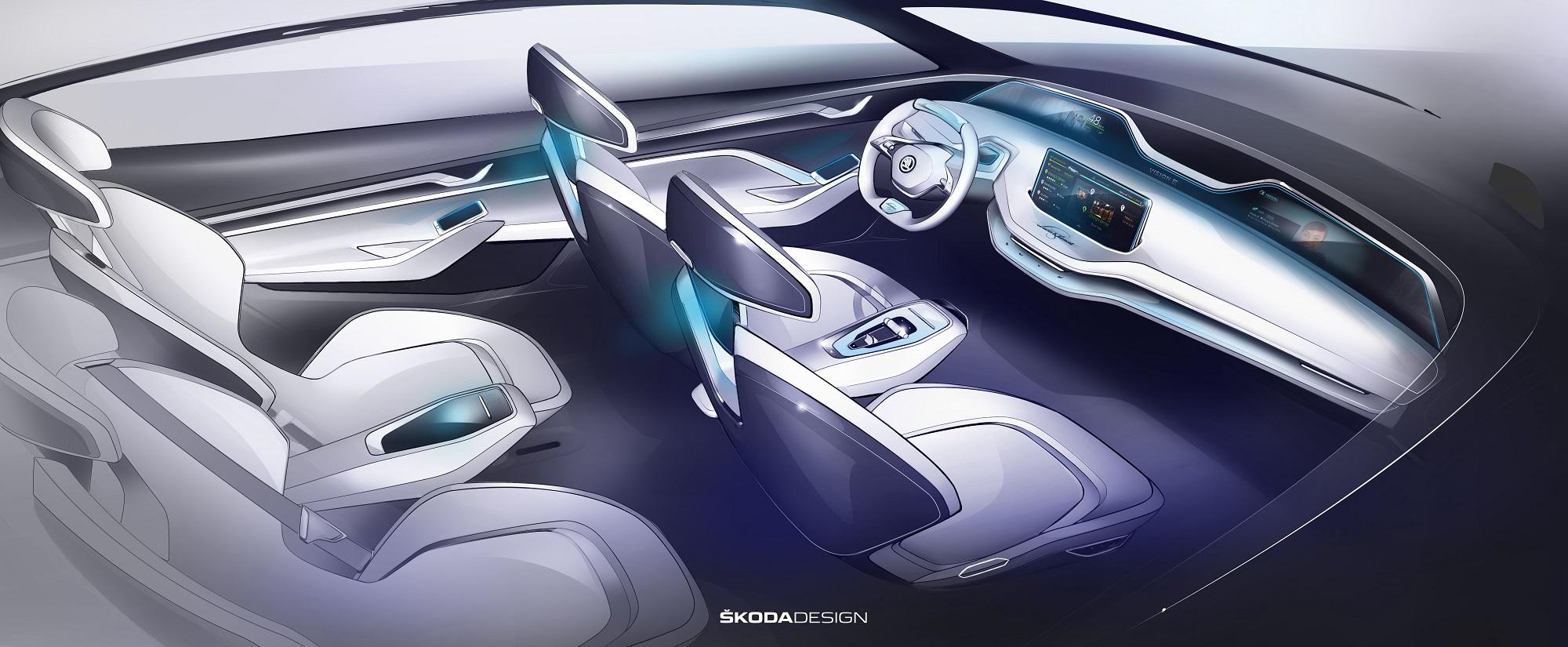 Skoda показала интерьер электрического кроссовера 2