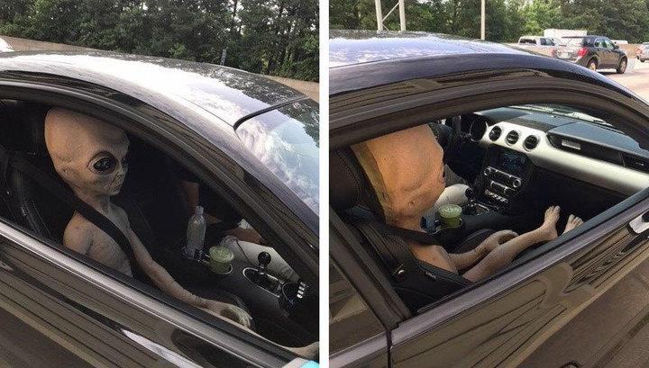 Полицейские остановили машину «с пришельцем в салоне» 1