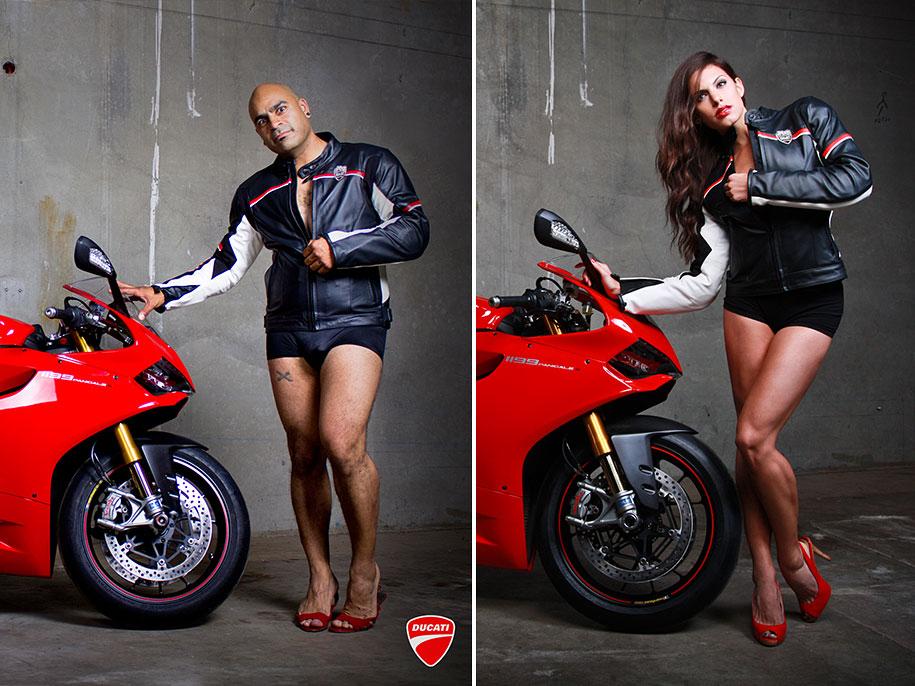 Мужчины снялись в позах женщин-моделей для рекламных постеров Ducati 3