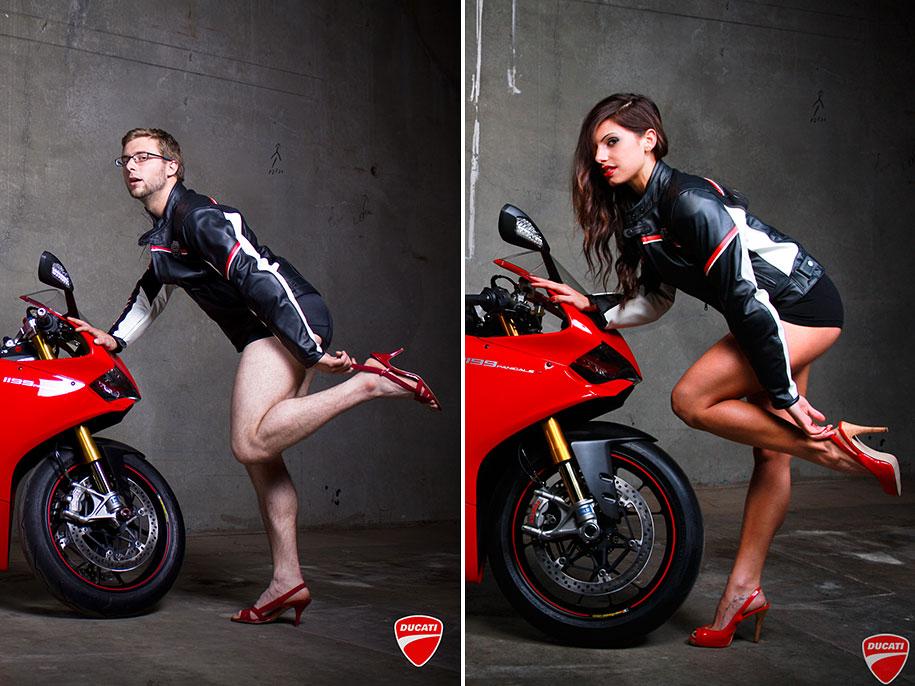 Мужчины снялись в позах женщин-моделей для рекламных постеров Ducati 6