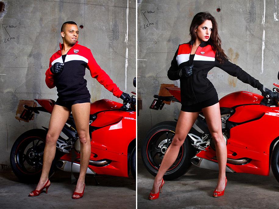 Мужчины снялись в позах женщин-моделей для рекламных постеров Ducati 9