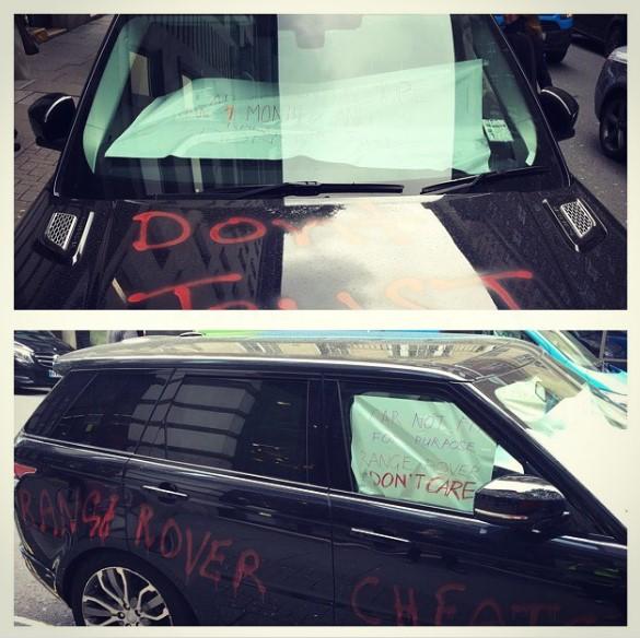 Британский водитель бросил на улице разукрашенный Range Rover в знак протеста 2