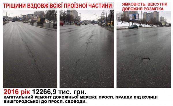 В украинской столице показали, как «исчезает» асфальт 3