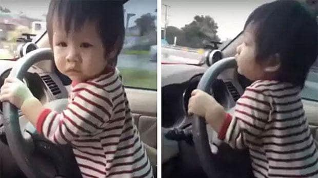 Отец позволил младенцу управлять автомобилем на большой скорости 1