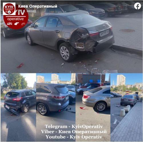 Неизвестный разбил сразу пять автомобилей на парковке в Киеве 1