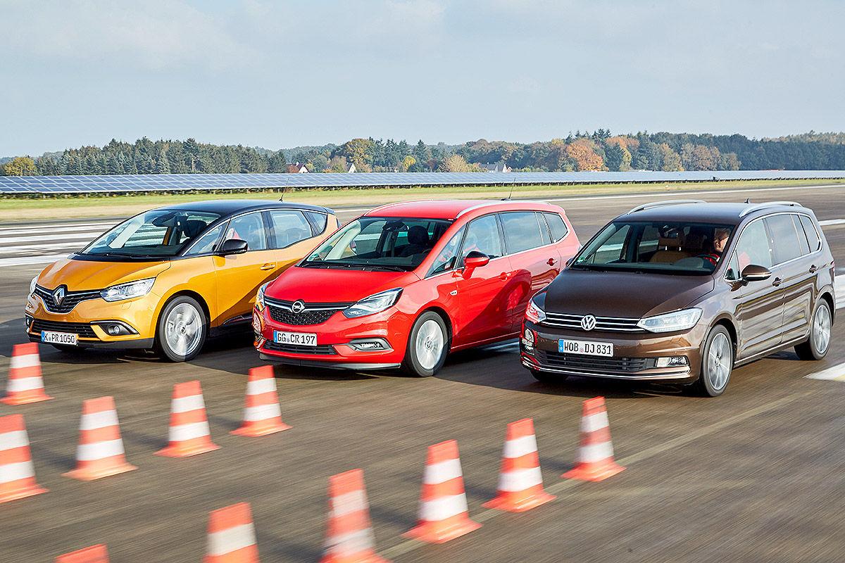 «Три красавца»: тест-драйв Opel Zafira, Renault Scénic и VW Touran 1