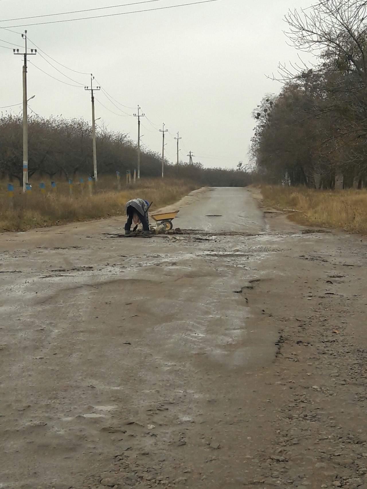 «Дожились»: женщина самостоятельно ремонтирует дорогу 1