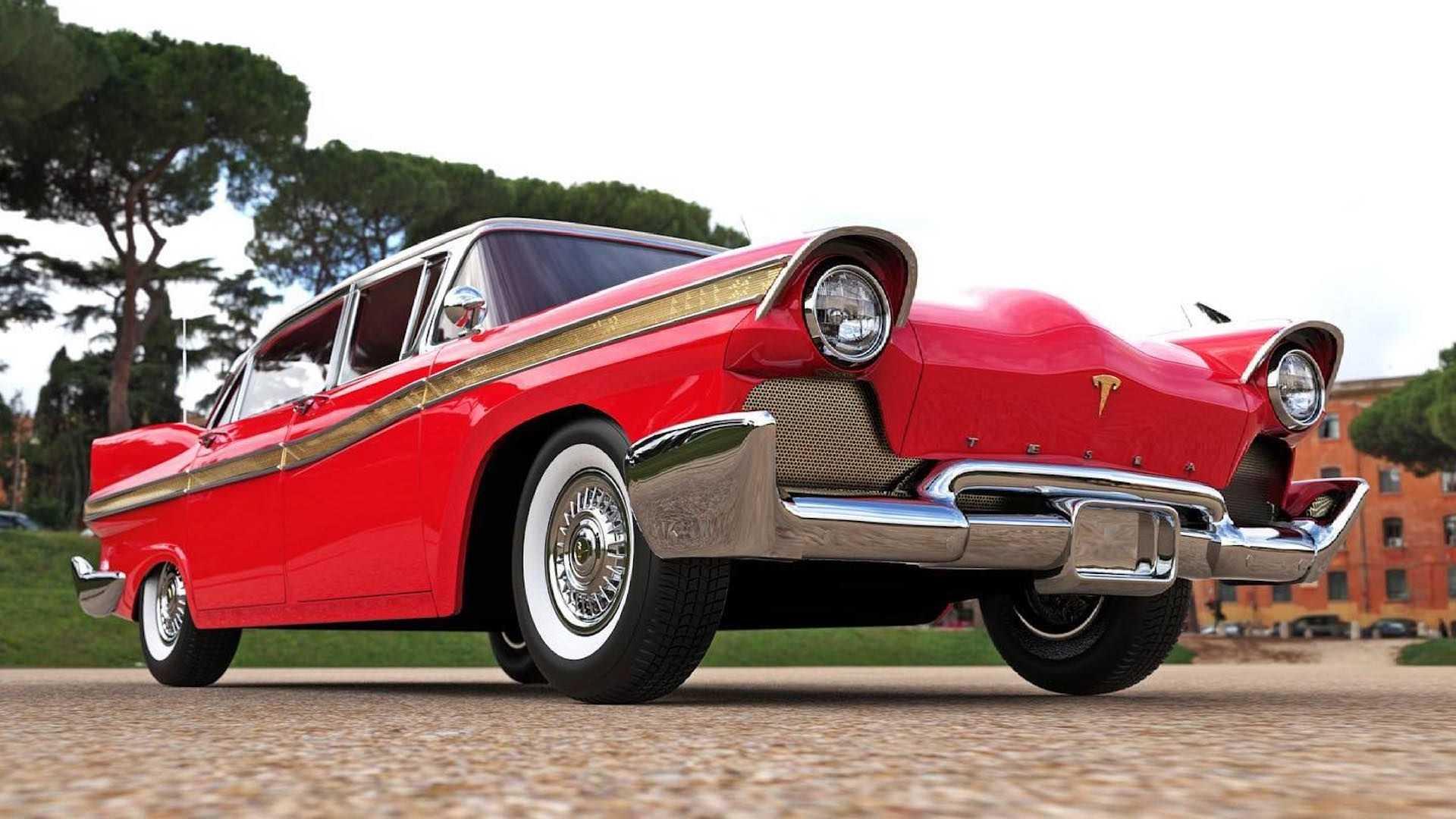 Футуристичный электрический седан Tesla1957 года выпуска 1