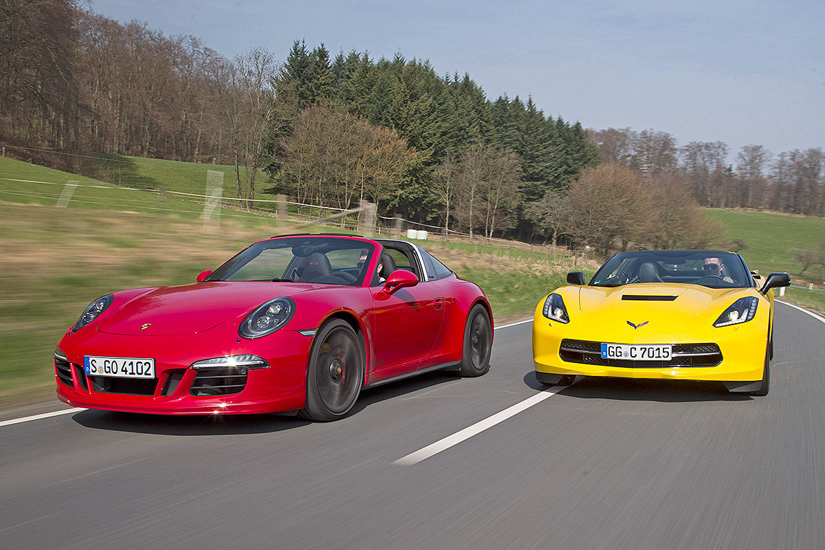 Сравнительный тест-драйв Porsche 911 Targa 4 GTS и Chevrolet Corvette Stingray 1