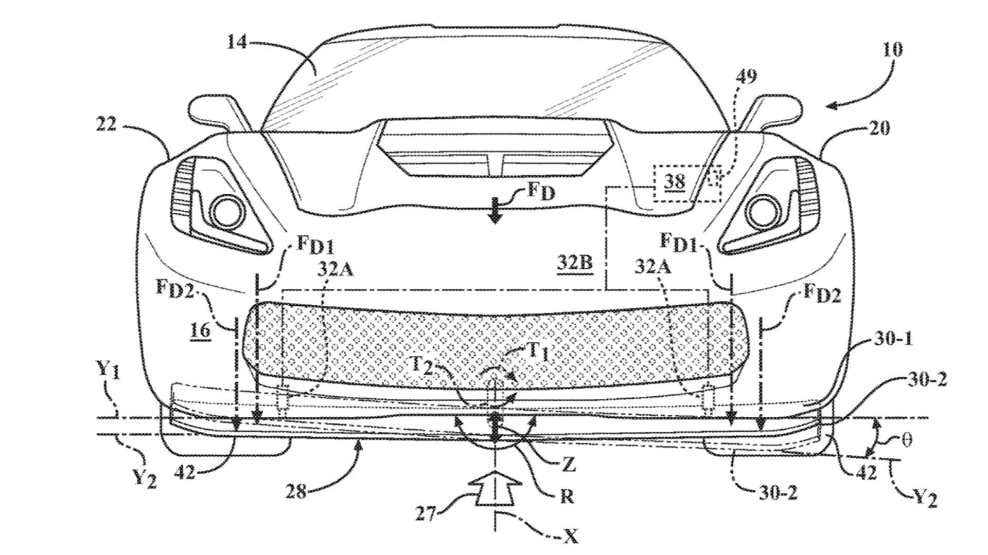 Среднемоторный Corvette оснастят активным передним сплиттером