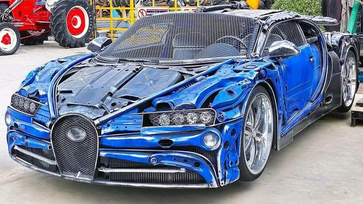 Самодельный Bugatti Chiron из металлолома и мусора (видео)