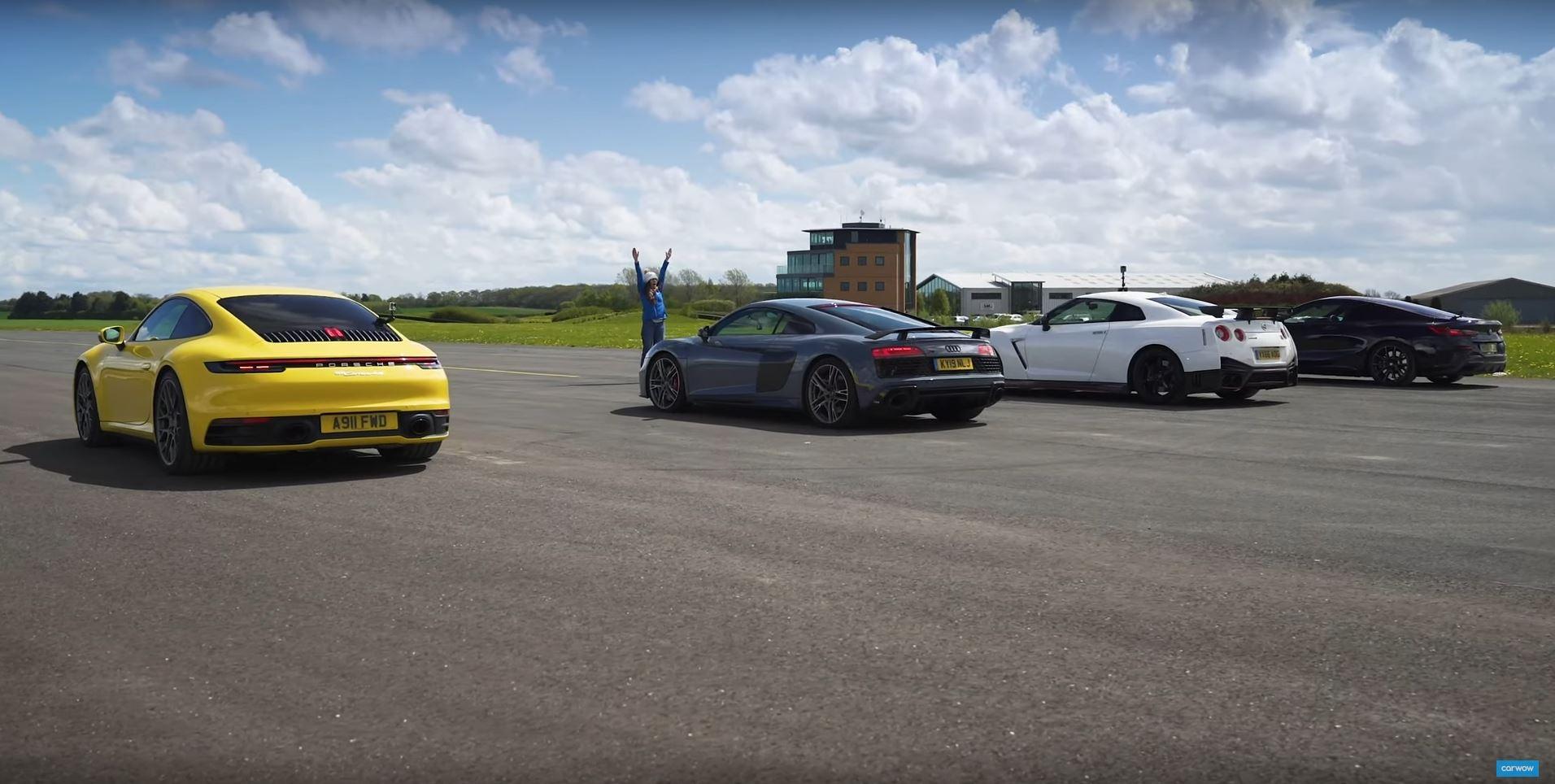 Porsche 911, Audi R8, Nissan GT-R Nismo или BMW M850i — кто выиграет гонку на прямой