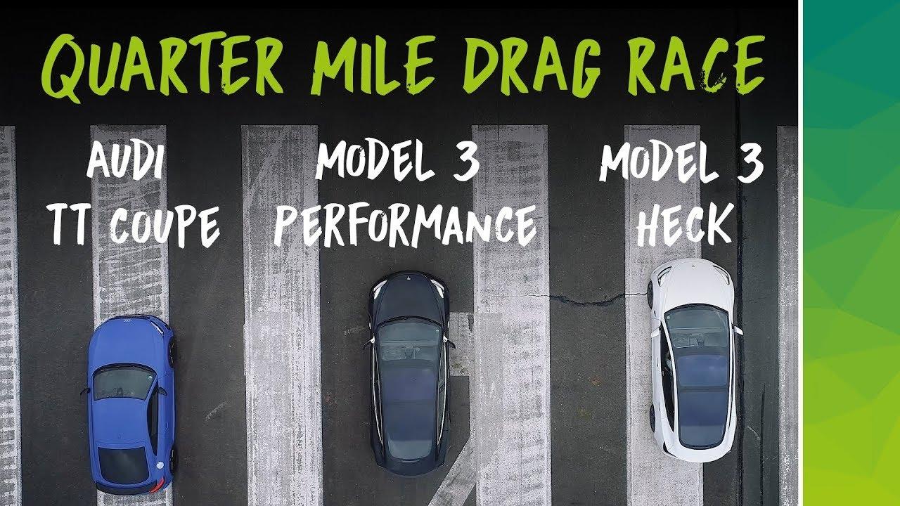 Tesla Model 3 или Audi TT — кто выиграл заезд на четверть мили