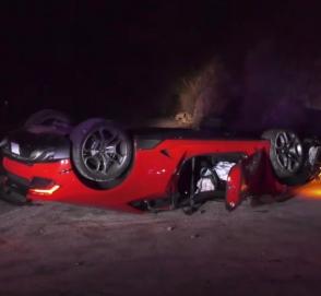 В Калифорнии на дороге нашли перевёрнутый Lamborghini
