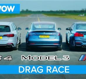 Audi RS4, BMW M3 и Tesla Model 3 сравнили в драг-рейсе и что из этого вышло
