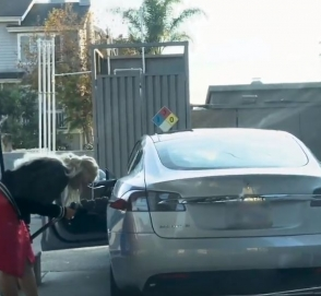 Приключения блондинки в Tesla на АЗС