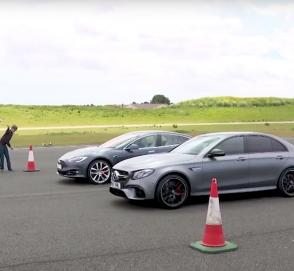 Mercedes-AMG E63 сравнили в дрэге с самой мощной Tesla Model S