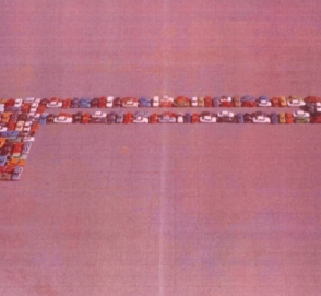 40 гоночных болидов приняли участие в необычном флешмобе