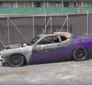 Владелец Dodge Challenger Hellcat снял видео, как сгорел его маслкар