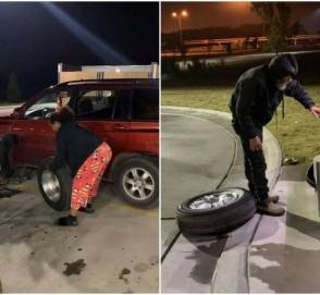 Бездомный помог даме поменять колесо и был вознагражден