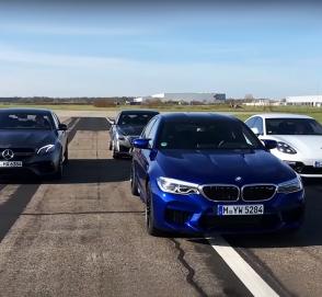 BMW M5, Cadillac CTS-V, Mercedes-AMG E 63 и Porsche Panamera сразились в гонке