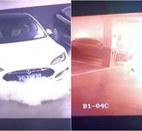Электромобиль Tesla эпично взорвался на парковке в Китае