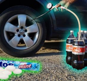 Как накачать шины с помощью газировки и конфет