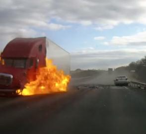 Авария с пожаром попала на видео